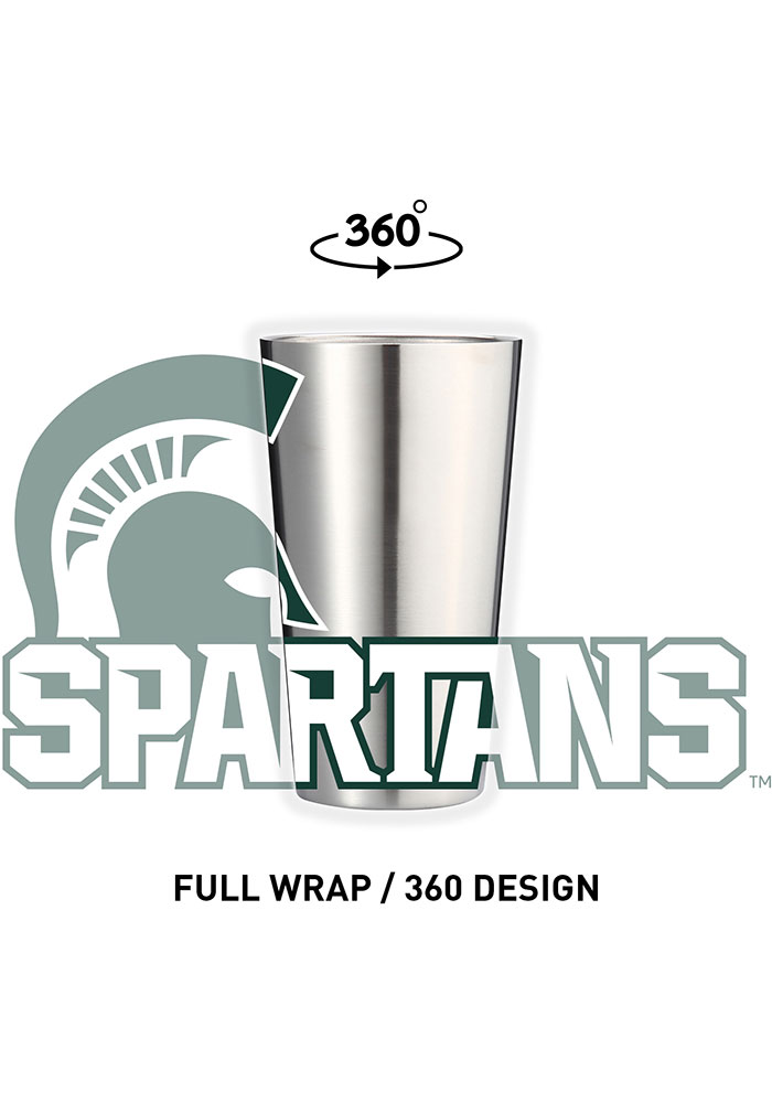 Michigan State Spartans 16 oz Stainless Steel Pint Glass - Image 1