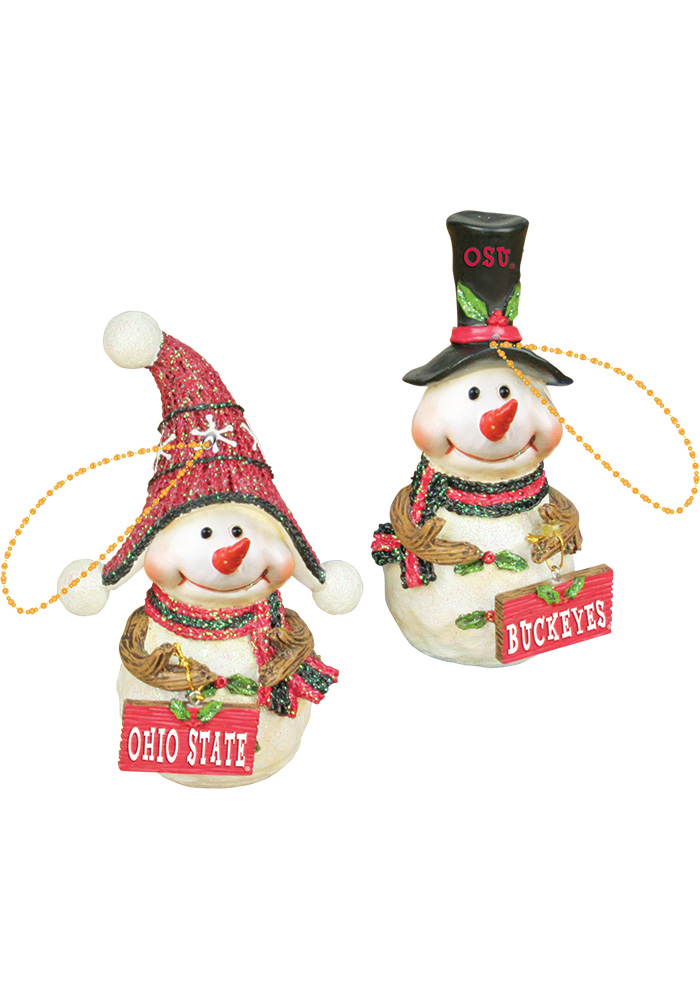 Ohio State Buckeyes Resin Snowman Ornament - Image 1
