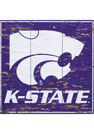K-State Wildcats Distressed Wood Sign