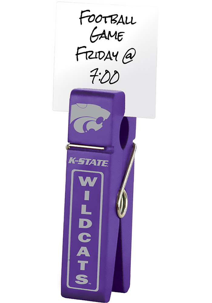 K-State Wildcats Large Wooden Clip Desk Accessory - Image 1