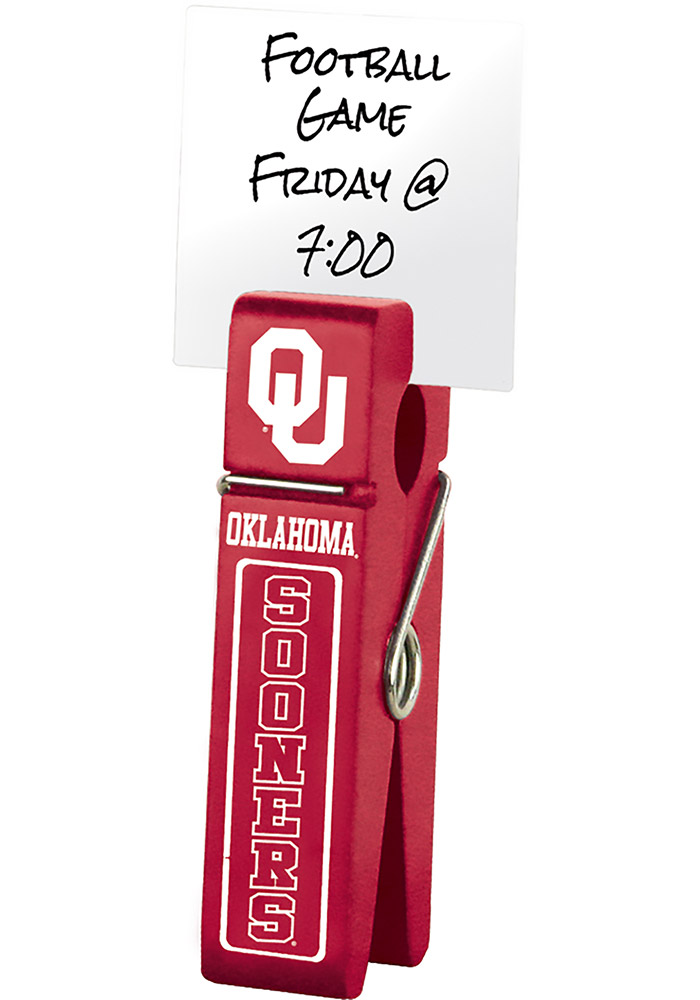 Oklahoma Sooners Large Wooden Clip Desk Accessory - Image 1