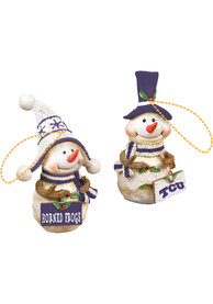 TCU Horned Frogs Resin Snowman Ornament