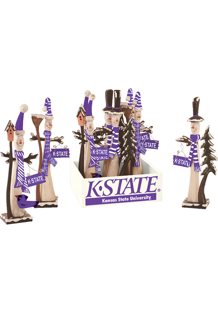 K-State Wildcats Wooden Snowman Decor - Image 1