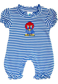 Kansas Jayhawks Baby Blue Stripe Puff Sleeve One Piece