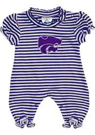 K-State Wildcats Baby Purple Stripe Puff Sleeve One Piece