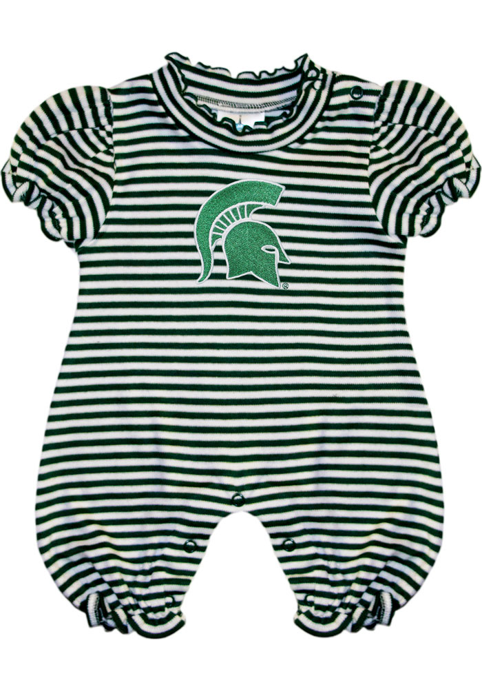 Michigan State Spartans Baby Green Stripe Puff Sleeve Short Sleeve One Piece - Image 1