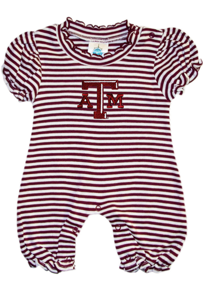 Texas A&M Aggies Baby Maroon Stripe Puff Sleeve Short Sleeve One Piece - Image 1