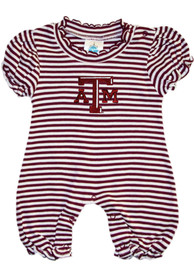 Texas A&M Aggies Baby Maroon Stripe Puff Sleeve One Piece