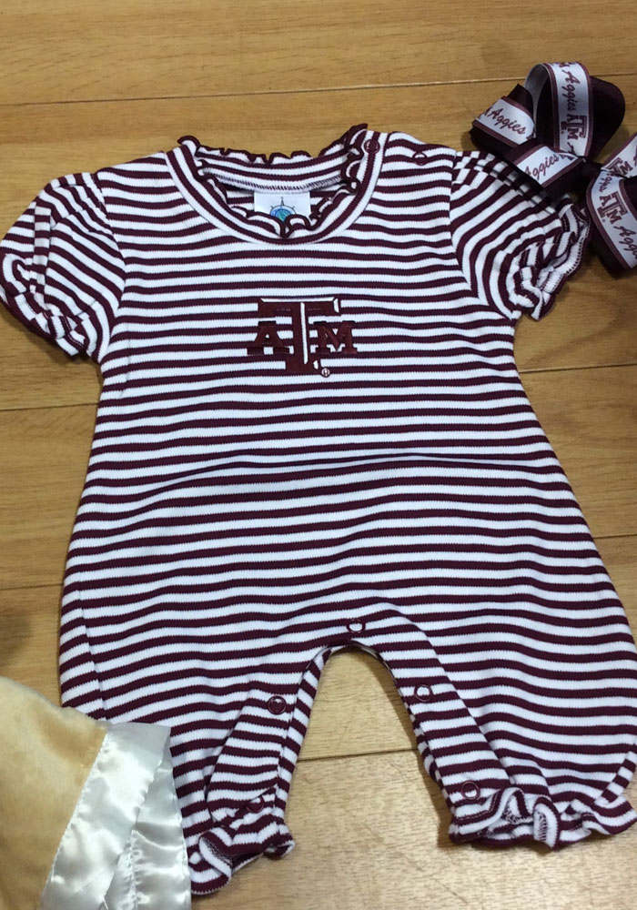 Texas A&M Aggies Baby Maroon Stripe Puff Sleeve Short Sleeve One Piece - Image 3