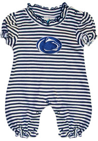 Penn State Nittany Lions Baby Navy Blue Stripe Puff Sleeve One Piece