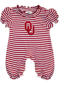 Oklahoma Sooners Baby Crimson Stripe Puff Sleeve One Piece