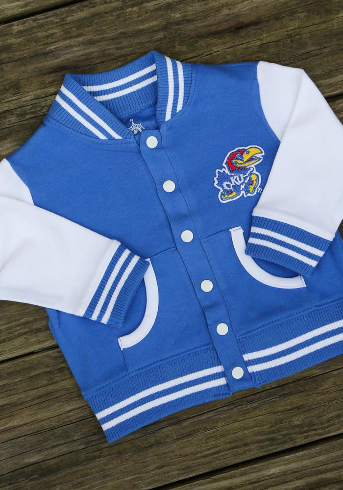 Kansas Jayhawks Baby Blue Varsity Light Weight Jacket - Image 2