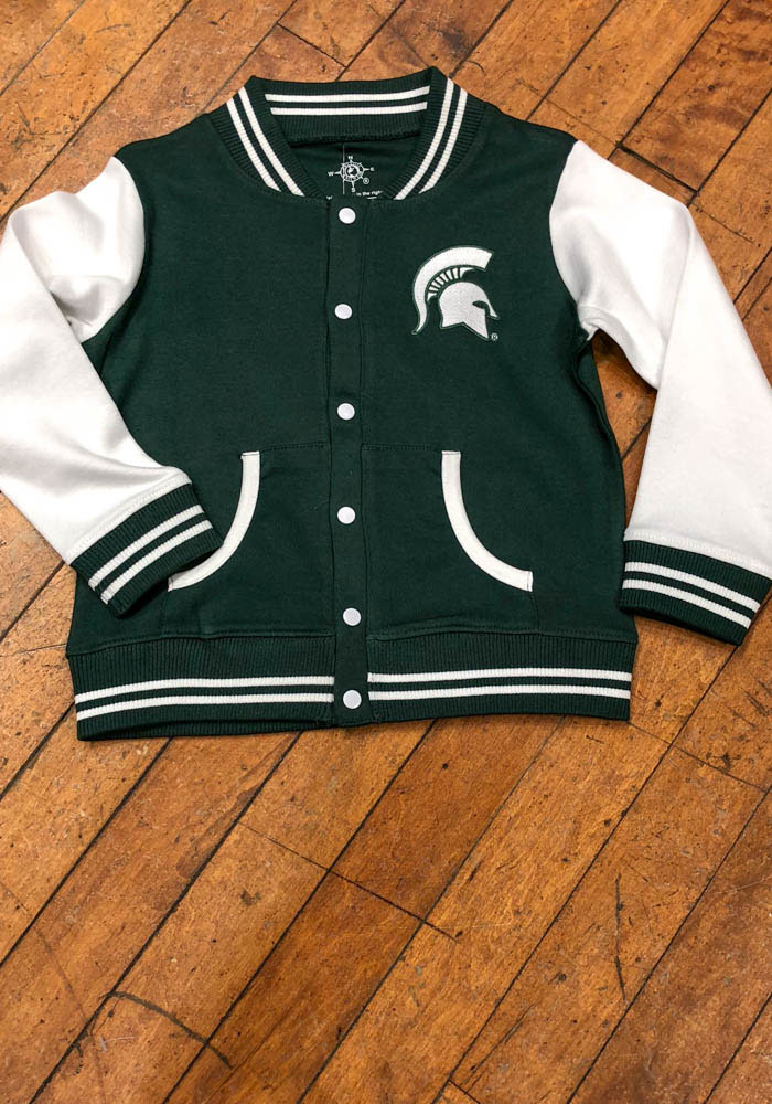 Michigan State Spartans Toddler Green Varsity Outerwear Light Weight Jacket - Image 2