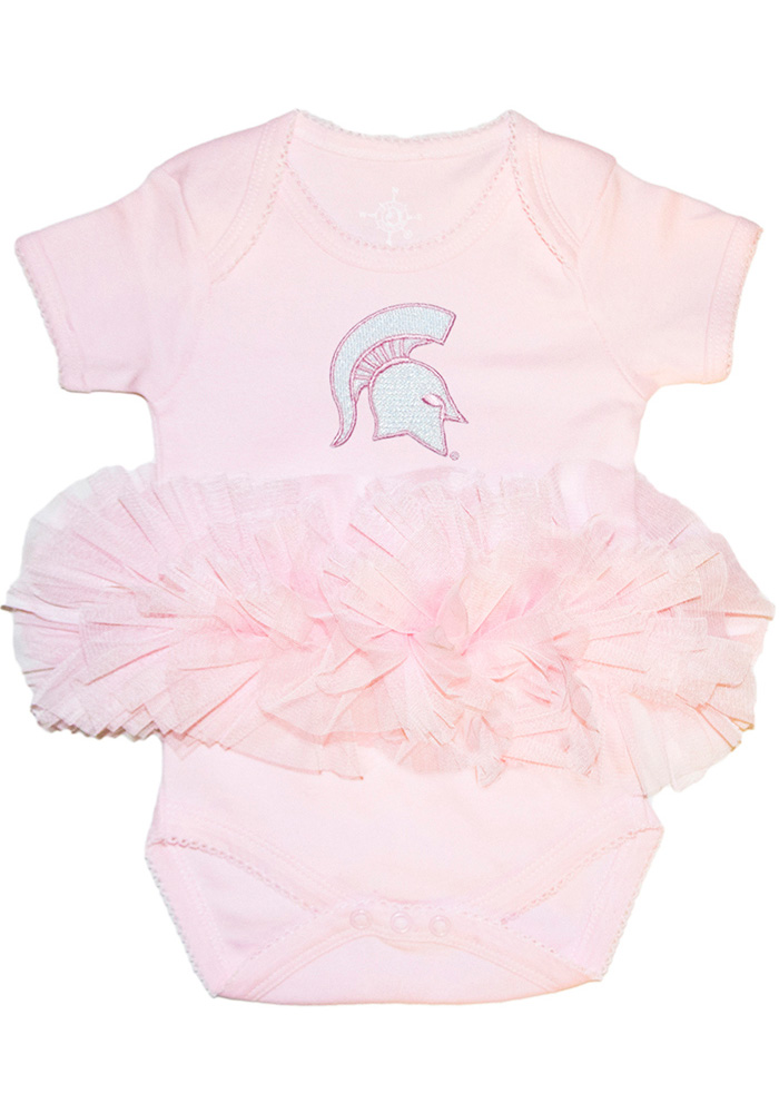 Michigan State Spartans Baby Pink Tutu Short Sleeve One Piece - Image 1