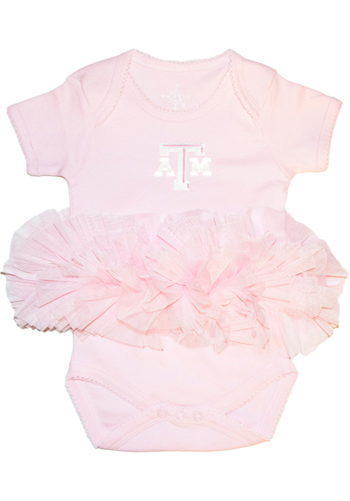 Texas A&M Aggies Baby Pink Tutu Short Sleeve One Piece - Image 1