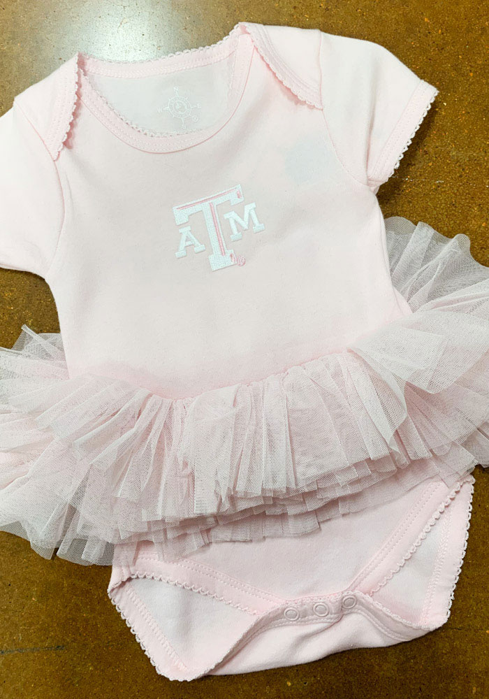 Texas A&M Aggies Baby Pink Tutu Short Sleeve One Piece - Image 2