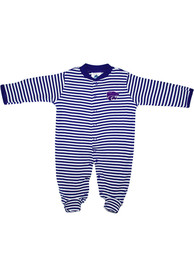 K-State Wildcats Baby Striped Footed Purple Striped Footed One Piece Pajamas