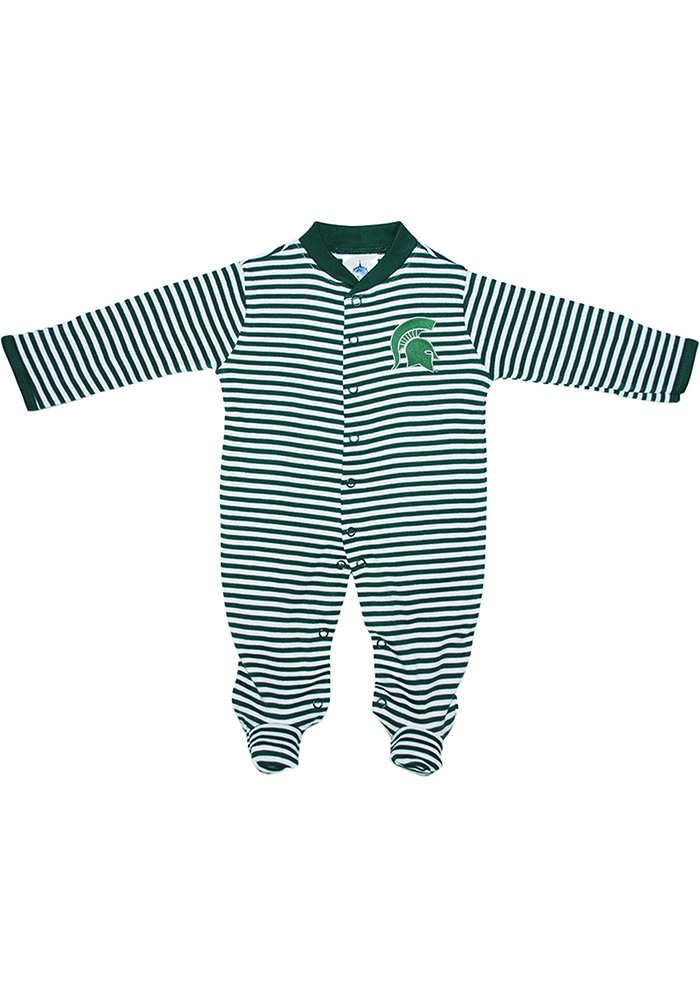 Michigan State Spartans Baby Green Striped Footed Loungewear One Piece Pajamas - Image 1