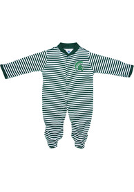 Michigan State Spartans Baby Striped Footed Green Striped Footed One Piece Pajamas
