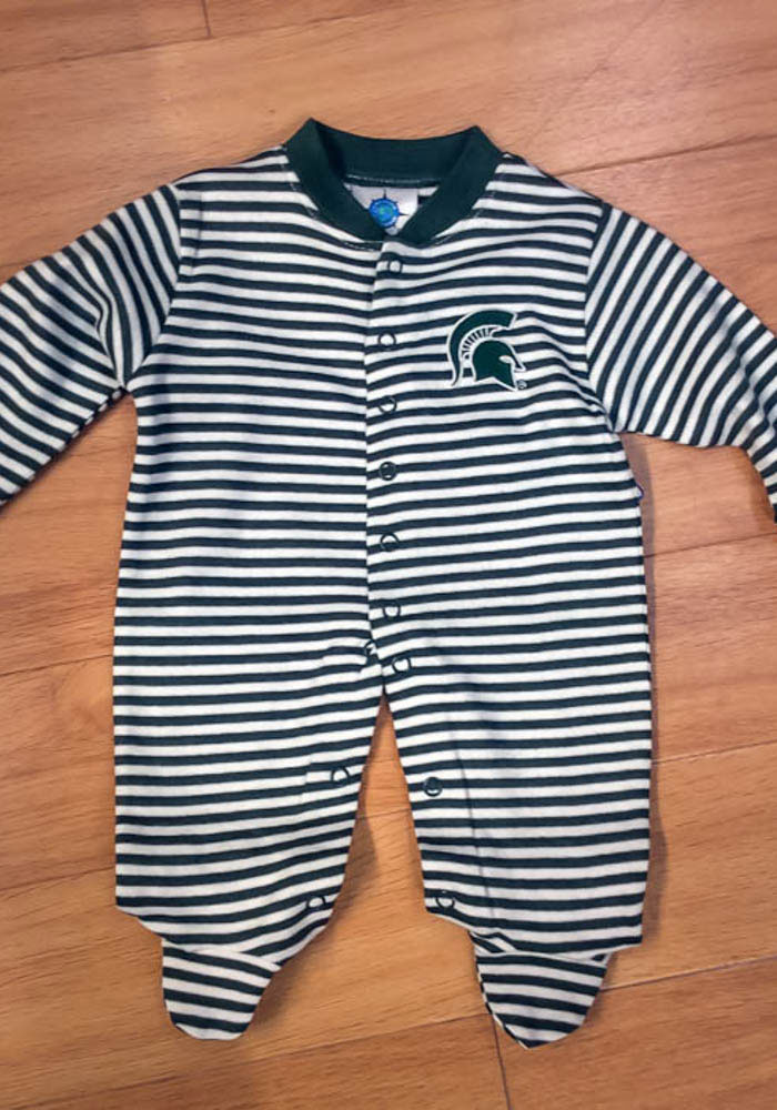Michigan State Spartans Baby Green Striped Footed Loungewear One Piece Pajamas - Image 3