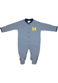 Michigan Wolverines Baby Striped Footed Navy Blue Striped Footed One Piece Pajamas