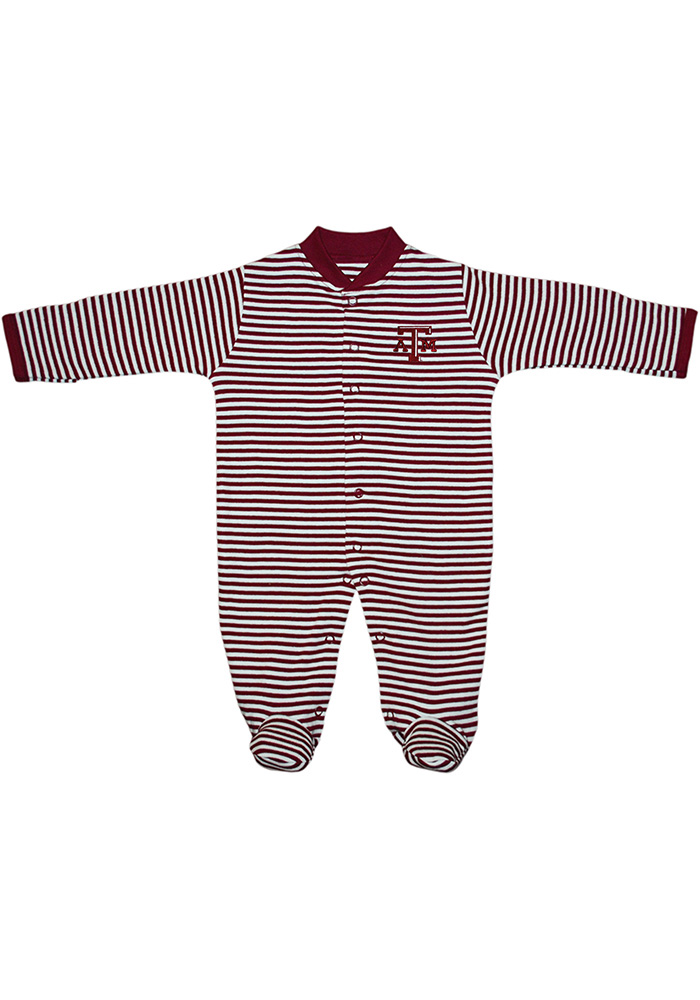 Texas A&M Aggies Baby Maroon Striped Footed Loungewear One Piece Pajamas - Image 1