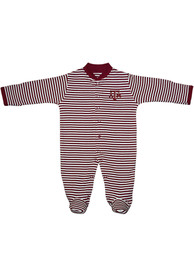 Texas A&M Aggies Baby Striped Footed Maroon Striped Footed One Piece Pajamas