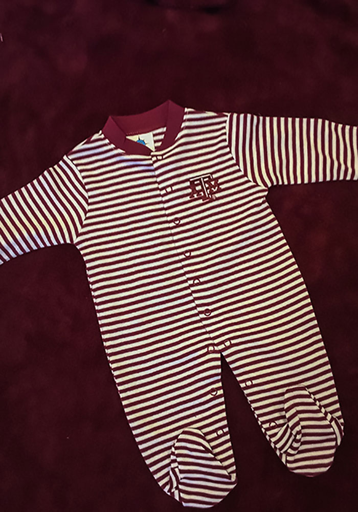 Texas A&M Aggies Baby Maroon Striped Footed Loungewear One Piece Pajamas - Image 2