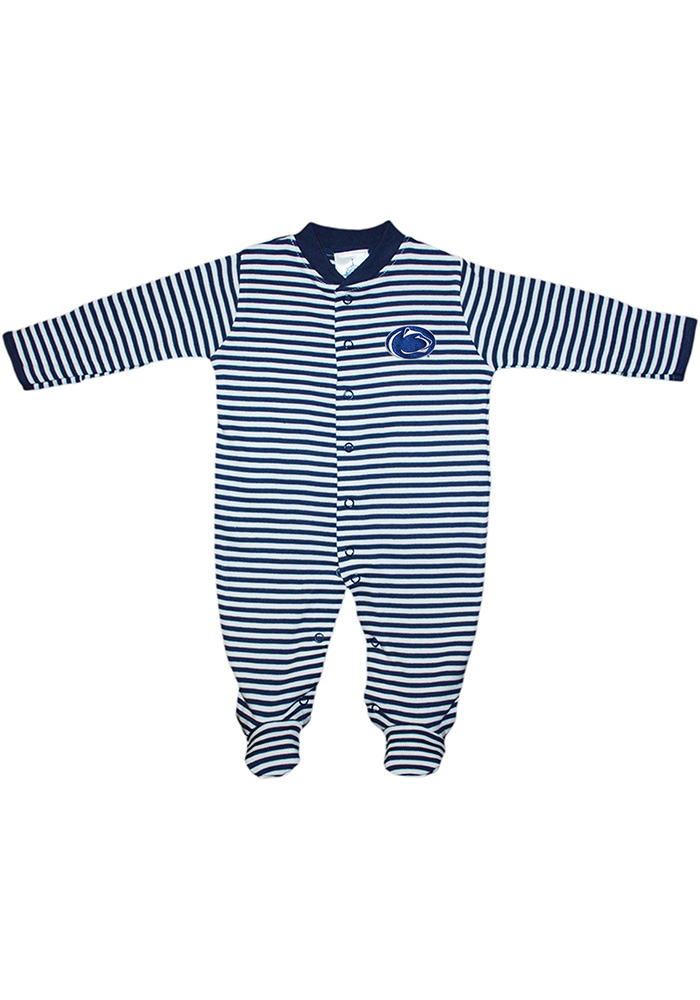 Penn State Nittany Lions Baby Striped Footed Navy Blue Striped Footed One Piece Pajamas