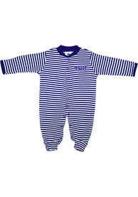 TCU Horned Frogs Baby Striped Footed Purple Striped Footed One Piece Pajamas