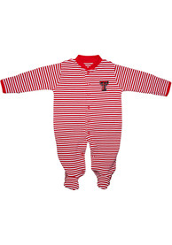 Texas Tech Red Raiders Baby Striped Footed Red Striped Footed One Piece Pajamas