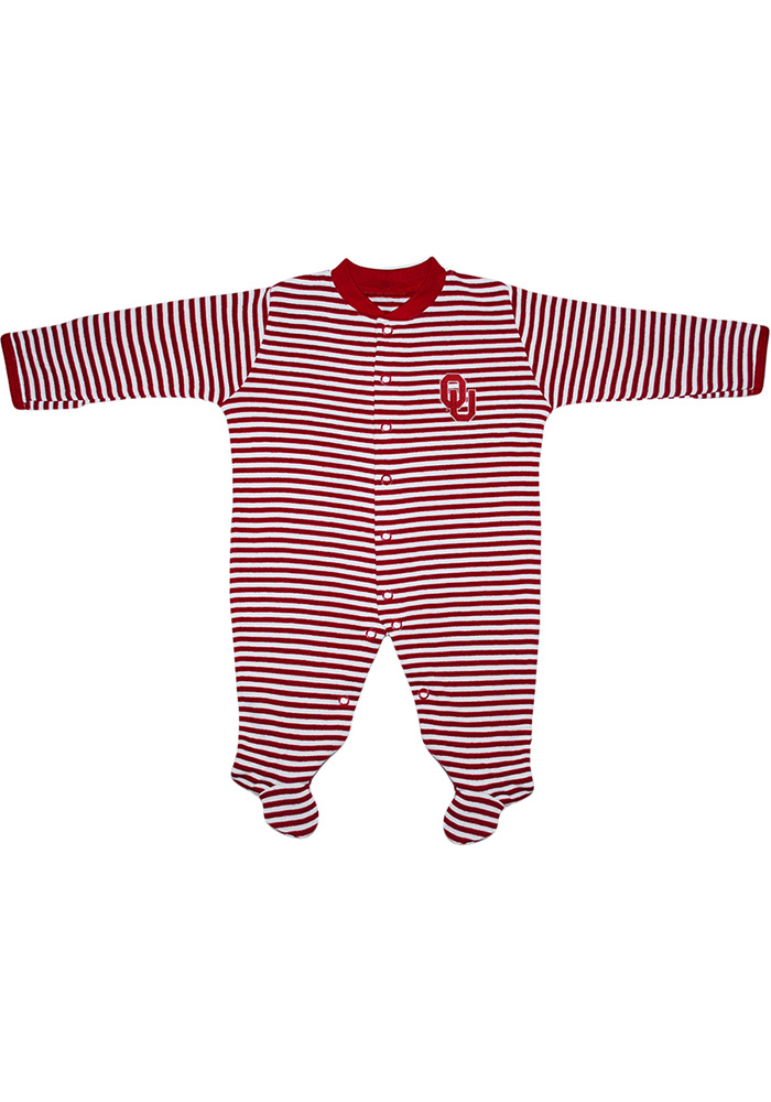 Oklahoma Sooners Baby Crimson Striped Footed Loungewear