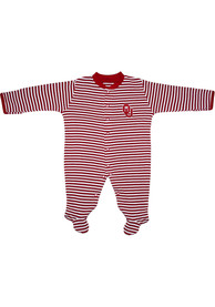 Oklahoma Sooners Baby Striped Footed Crimson Striped Footed One Piece Pajamas