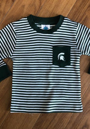 Michigan State Spartans Toddler Green Striped Pocket Long Sleeve T-Shirt