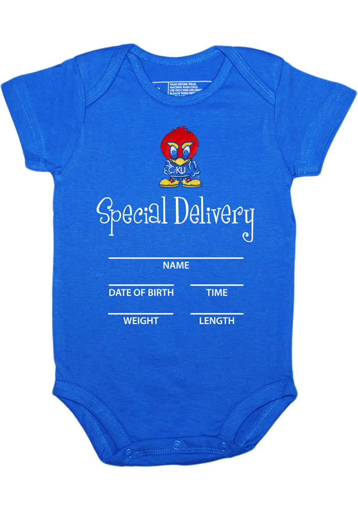 Kansas Jayhawks Baby Blue Special Delivery Short Sleeve One Piece - Image 1