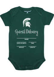 Michigan State Spartans Baby Green Special Delivery Short Sleeve One Piece