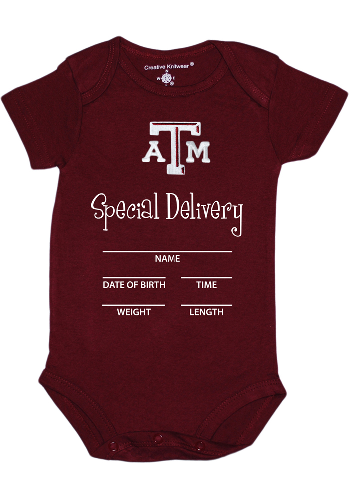 Texas A&M Aggies Baby Maroon Special Delivery Short Sleeve One Piece - Image 1
