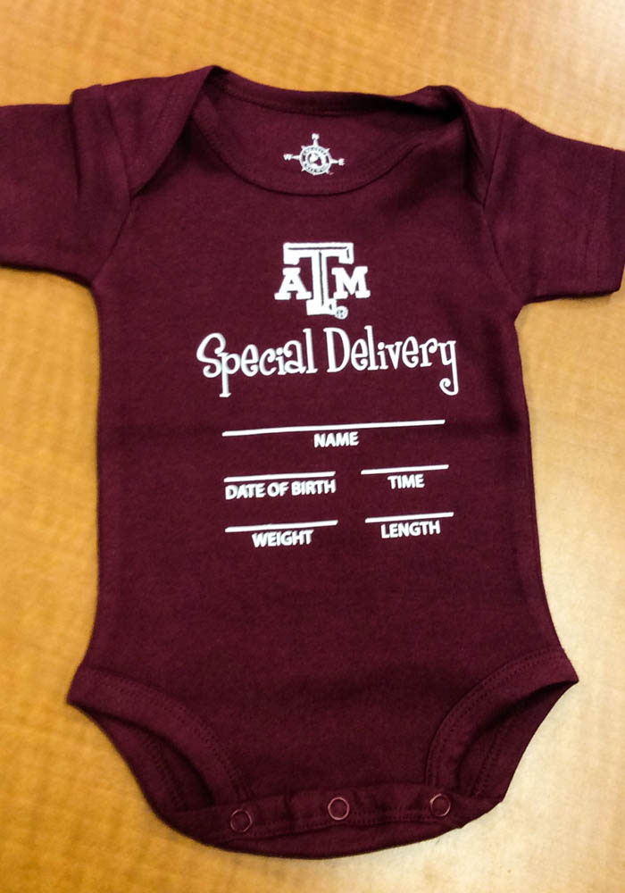 Texas A&M Aggies Baby Maroon Special Delivery Short Sleeve One Piece - Image 2