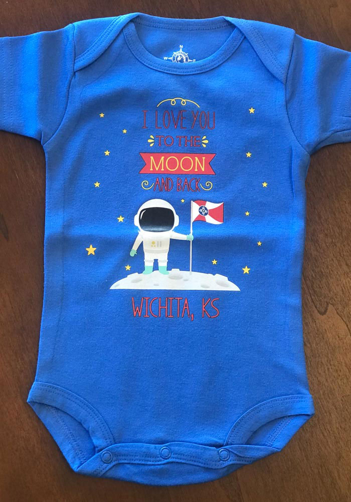 Wichita Baby Blue To the Moon and Back Short Sleeve One Piece - Image 2