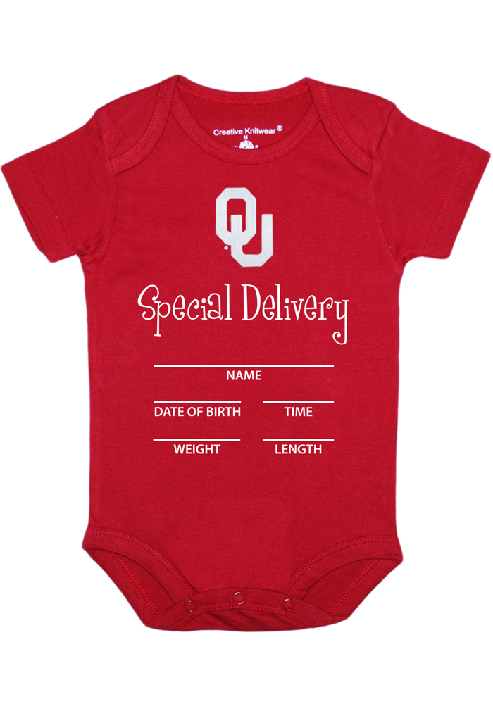Oklahoma Sooners Baby Cardinal Special Delivery Short Sleeve One Piece - Image 1