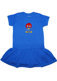 Kansas Jayhawks Baby Girls Blue Picot Dress