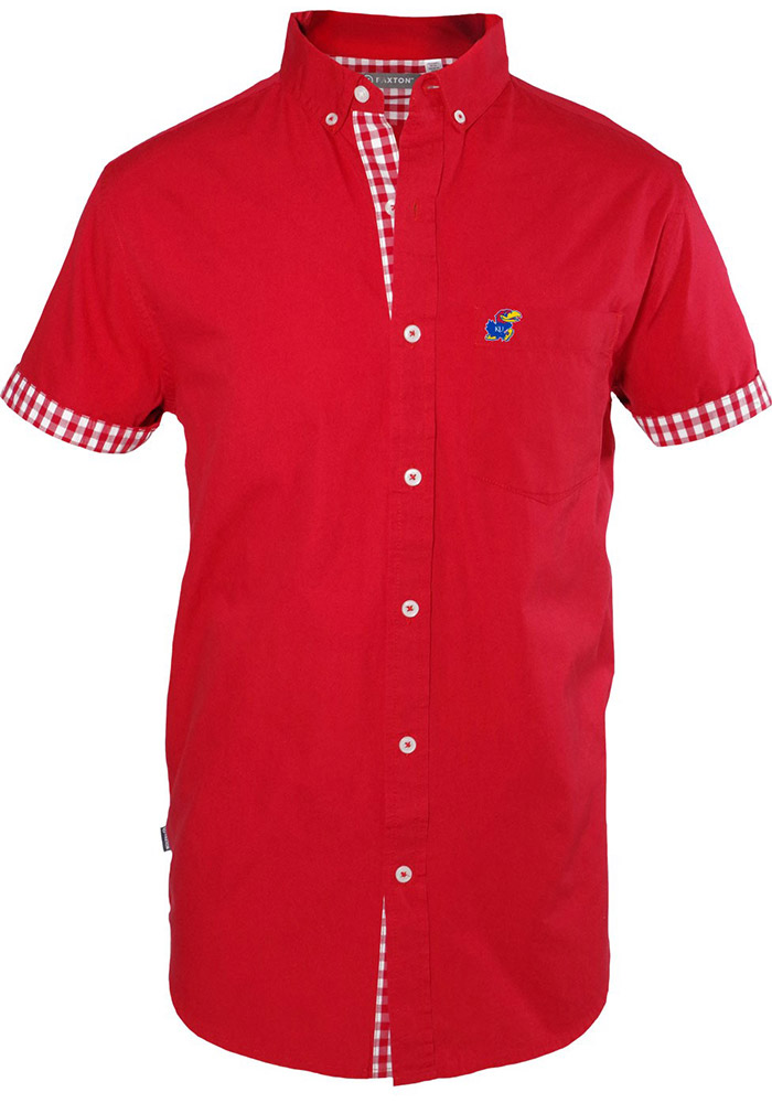 Kansas Jayhawks Mens Red Bierstadt Short Sleeve Dress Shirt - Image 1