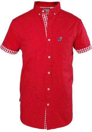 Kansas Jayhawks Mens Red Bierstadt Dress Shirt
