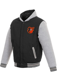 Baltimore Orioles Reversible Hooded Heavyweight Jacket - Black