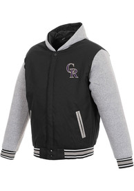 Colorado Rockies Reversible Hooded Heavyweight Jacket - Black