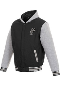 San Antonio Spurs Reversible Hooded Heavyweight Jacket - Black