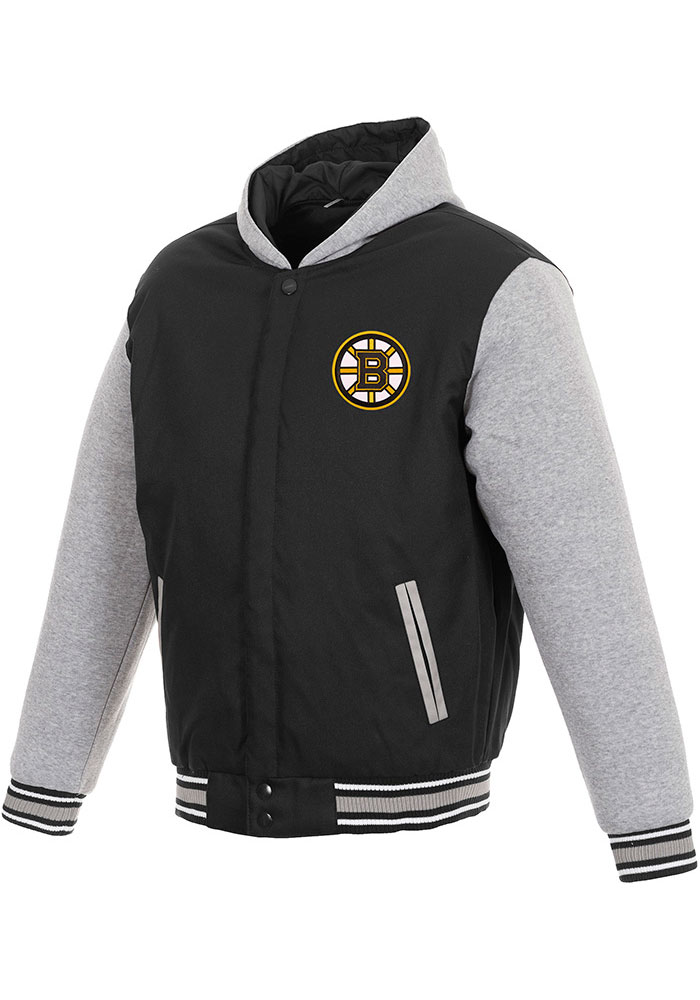 Boston Bruins Mens Black Reversible Hooded Heavyweight Jacket - Image 1