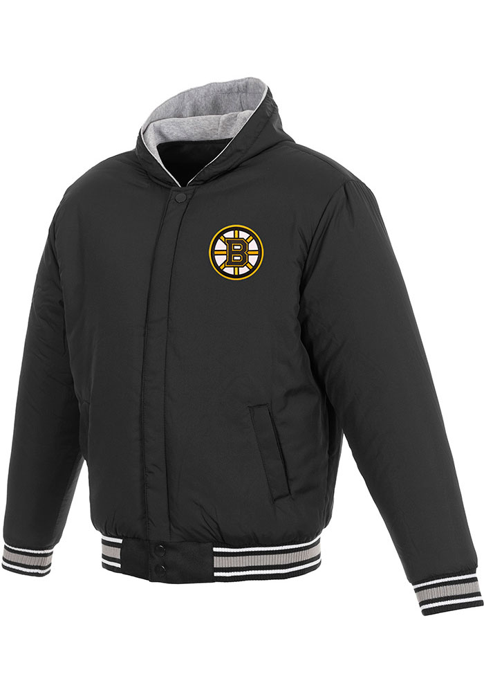 Boston Bruins Mens Black Reversible Hooded Heavyweight Jacket - Image 3