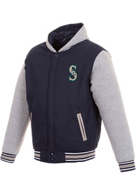 Seattle Mariners Reversible Hooded Heavyweight Jacket - Navy Blue