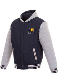 Indiana Pacers Reversible Hooded Heavyweight Jacket - Navy Blue